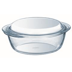 Vas rotund cu capac din sticla termorezistenta 21x18x8 cm, 1,4 L, Essentials Pyrex