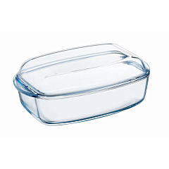 Vas dreptunghiular cu capac din sticla termorezistenta 33x19x13 cm, 4,5 L, Essentials Pyrex