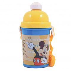 Termos cu capac si pai Mickey Mouse, plastic, Multicolor
