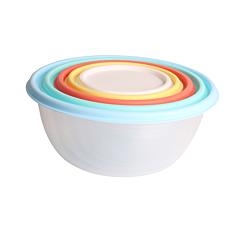 Set 5 caserole rotunde cu capac colorat