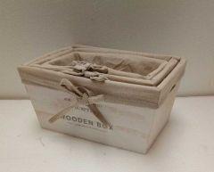 Set 3 cutii lemn Albe, Heinner