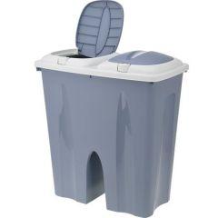 Cos de gunoi dublu 2x25 L, plastic, gri
