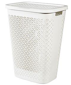 Cos depozitare rufe Curver Terrazzo, plastic reciclat, 55L, 44x34x58 cm, Alb