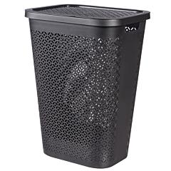 Cos depozitare rufe 55L, 44 x 34 x 58 cm, model TERRAZZO, plastic, negru, CURVER