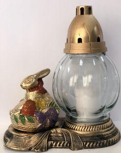 Candela din sticla cu decoratiune iepure  CI-120 IEP Alb~28H