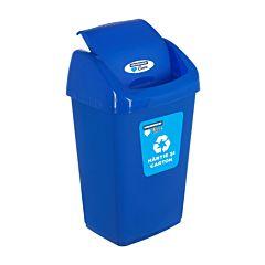 Cos gunoi pentru reciclare selectiva cu capac batant, 50L, Albastru