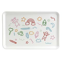 Tava cu decor Happy, polipropilena, 20 x 30 x 1.35 cm, Alb