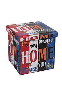 Taburet pliabil HOME 1, cu spatiu de depozitare, 38x38x37.5cm, PVC/MDF, Multicolor