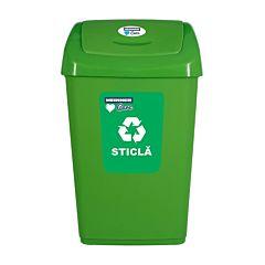 Cos de gunoi pentru reciclare selectiva Heinner, capac batant, 25 L, Verde