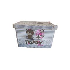 Cutie depozitare model Teddy, cu capac, PP, 28x18x14 cm, 5 L, Multicolor