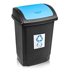 Cos gunoi pentru colectare selectiva Swing Plast Team, cu capac, PP, 15 L, Negru/Albastru