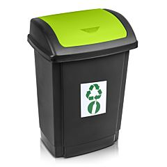 Cos gunoi pentru colectare selectiva Swing Plast Team, cu capac, PP, 15 L, Negru/Verde