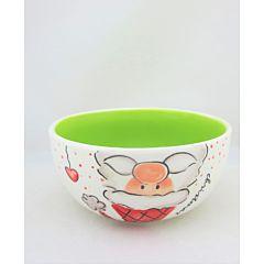 Bol cu design cap Mos, 14*14*7 cm, ceramica, Alb