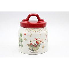 Recipient cu capac rosu, design Mos Craciun in saniuta, 400 ml, 10.2x10.2x11.6 cm, Alb