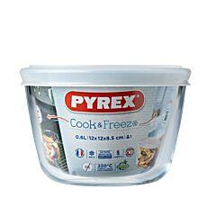 Vas termorezistent rotund Pyrex, cu capac, sticla borosilicata, 0.6 L, Alb