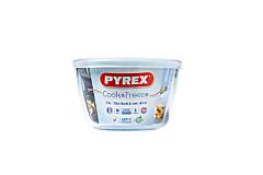 Vas termorezistent rotund Pyrex, cu capac, sticla borosilicata, 1.1 L, Alb