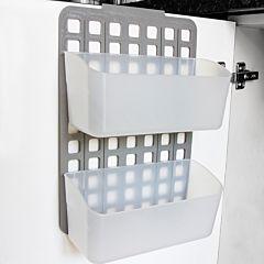 Organizator modular cu doua cosuri, marimi cosuri L, PP, 25.5x10.5x36 cm, Alb/Gri