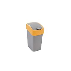 Cos gunoi cu capac batant Flip Bin Curver, plastic, 10L, 18.9 x 35 x 23.5 cm, Gri/Galben