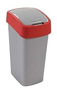 Cos gunoi cu capac batant Flip Bin Curver, plastic, 50L, 29.4 x 65.3 x 37.6 cm, Gri/Rosu