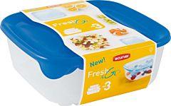 Set 3 cutii alimente Fresh&Go Curver, plastic transparent, 0.25L/0.8L/1.7L/2.9L, 23 x 8.3 x 23 cm, patrat, capac albastru