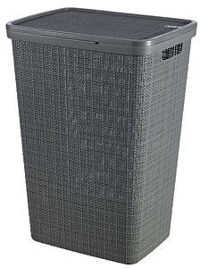 Cos depozitare rufe Curver Jute, aspect iuta, plastic, 58L, 45.2x61.4x34.1 cm, Gri