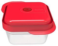 Set 2 caserole multifunctionale Tefal, cu capac, 0.8 L, plastic, Transparent/Rosu