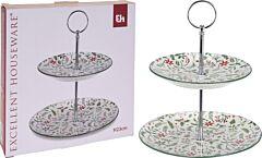 Suport rotund pentru mancare Excellent Houseware, modele Craciun, 2 etaje, Multicolor