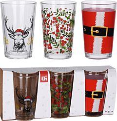 Set 3 pahare cu modele Craciun Excellent Houseware, sticla, Multicolor