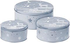 Set 3 cutii de depozitare rotunde model Craciun, metal, Albastru/Argintiu