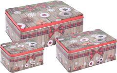 Set 3 cutii de depozitare dreptunghiulare, model fursecuri, metal, Multicolor