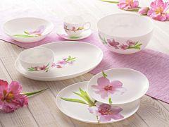 Serviciu de masa Watercolor Luminarc, opal, 19 piese, Alb cu flori