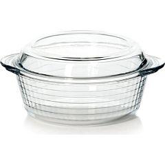 Vas rotund cu capac Pasabahce, sticla termorezistenta, 25x22x8 cm, Transparent