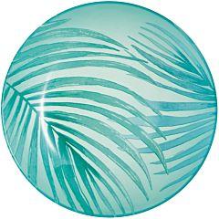 Farfurie pentru desert Crazifolia Luminarc, sticla decorata, 20 cm, Turcoaz