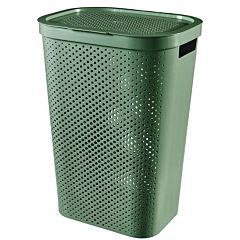 Cos de rufe Curver Infinity, cu capac si manere, plastic reciclat, 60L, 43.7x60.2 x35.1 cm, Verde