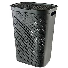 Cos de rufe Curver Infinity, cu capac si manere, plastic reciclat, 60L, 43.7x60.2 x35.1 cm, Gri