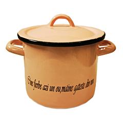 """Oala cu capac inscriptionata cu mesajul """"Cine fierbe azi un ou, maine gateste din nou"""", email, 2.25 L, 16 cm, Roz"""