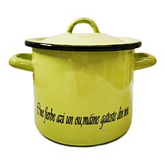 """Oala cu capac inscriptionata cu mesajul """"Cine fierbe azi un ou, maine gateste din nou"""", email, 2.25 L, 16 cm, Verde"""