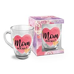 Cana Mom Rocks! BG-TECH, sticla, 350 ml, Transparent/Multicolor
