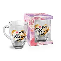 Cana I Love You Mom! BG-TECH, sticla, 350 ml, Transparent/Multicolor