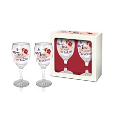 Set 2 pahare vin Time for Gossip with Mom/with Daughter BG-TECH, sticla, 220 ml, Transparent/Multicolor