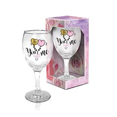 Pahar vin True Love - You and Me BG-TECH, sticla, 220 ml, Transparent/Multicolor