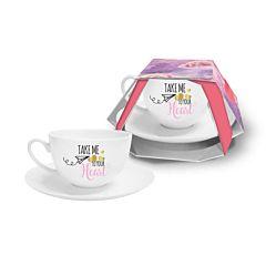 Ceasca de cafea cu farfurioara Take Me To Your Heart BG-TECH, portelan, 250 ml, Alb/Multicolor