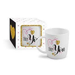 Cana Only You BG-TECH, portelan, 330 ml, Alb/Multicolor