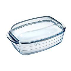 Vas termorezistent dreptunghiular cu capac O cuisine, sticla, 6.5 L, Transparent