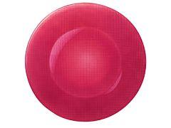 Platou rotund Inca Bormioli, sticla, 31 cm, Roz soft cherry