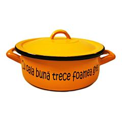 """Cratita cu capac inscriptionata cu mesajul """"Cu oala buna trece foamea grea"""", email, 2.1 L, 20 cm, Portocaliu"""