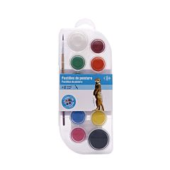 Acuarele 12 culori tip pastila cu pensula, Carrefour