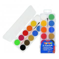 Acuarele Morocolor cu pensula diametru pastila 25mm, 12 culori set