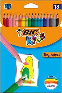 Creioane colorate Tropicolors, 18 bucati, BIC