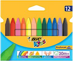 Creioane cerate plastifiate Plastidecor Triunghiulare, 12 culori